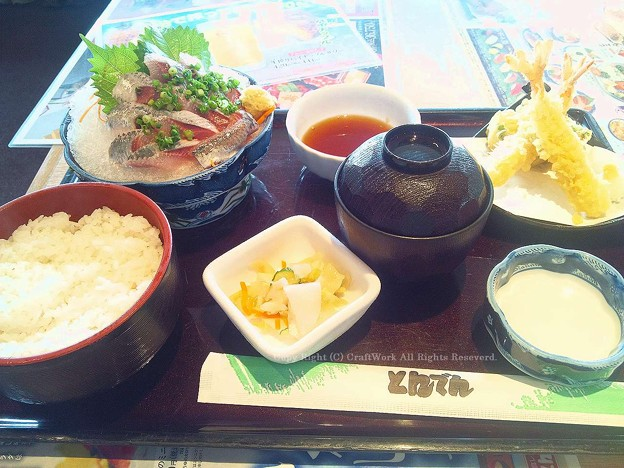 鰯の刺身と天ぷら定食2