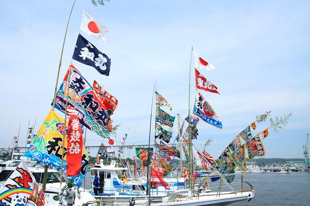 大漁旗がイパーイ