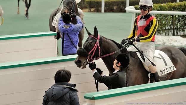 [4上5下ダ17](見えないけど)笑顔の幹夫先生に迎えられるサナシオンと松田