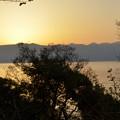 夕日と琵琶湖