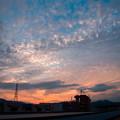 うろこ雲の夕焼け