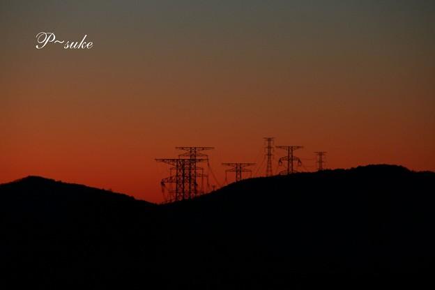 黄昏時の鉄塔