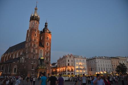 クラクフ中央広場の教会