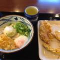 丸亀製麺:おろしうどん(温・並)と温泉玉子、かしわとカボチャの天ぷら