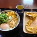 丸亀製麺:おろしうどん(冷・並)と温泉玉子、ナスとカボチャの天ぷら