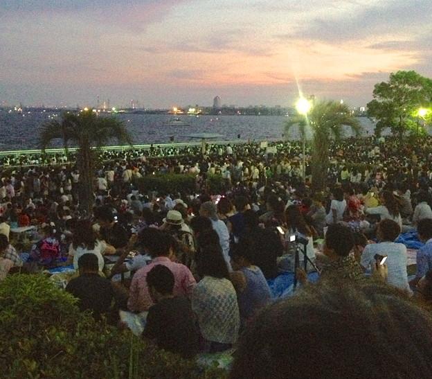 写真: 名古屋みなと祭 2013:花火開始直前の臨港緑園