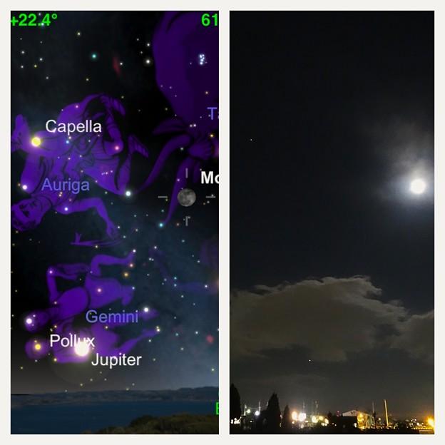 満月と木星とカペラ - 1