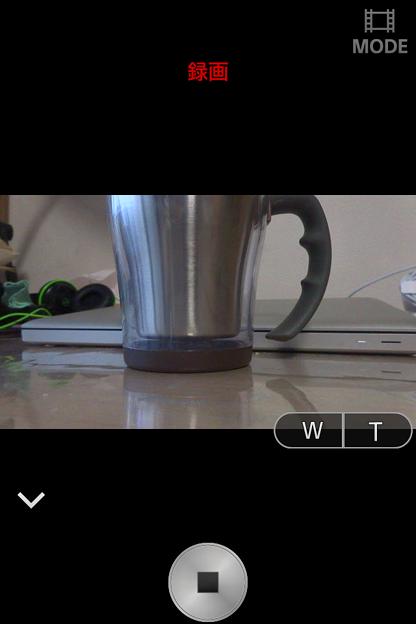PlayMemories Mobile 4.0.1:動画撮影モード(録画中)