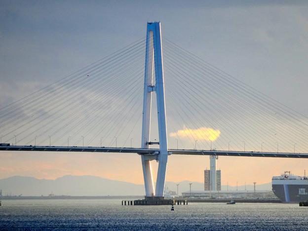 夕暮れ時、名古屋港水族館から名港中央大橋を望む No - 01