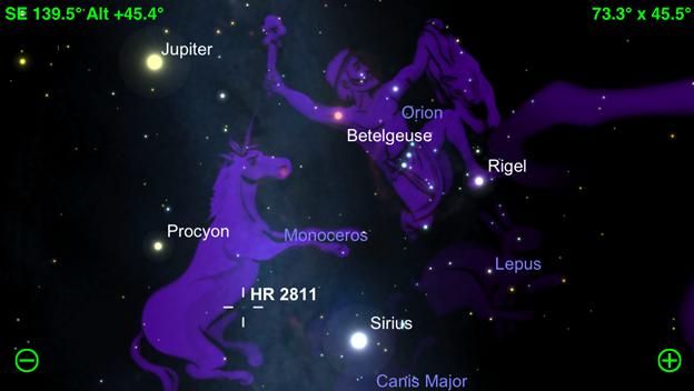 SkySafari 3:横向きで星を表示
