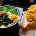 Photos: 丸亀製麺:あさりしぐれ 塩ぶっかけ と、野菜のかき揚げ・かしわ天