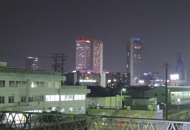 写真: 夜の向野橋から見た景色 No - 37:名駅ビル群