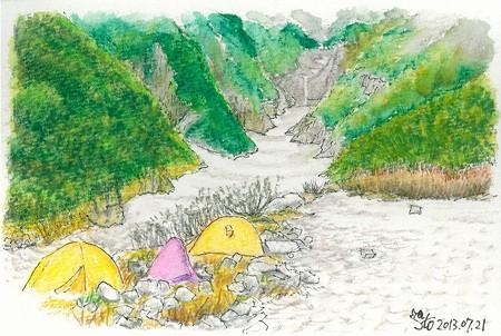 20130721岳沢テン場の朝