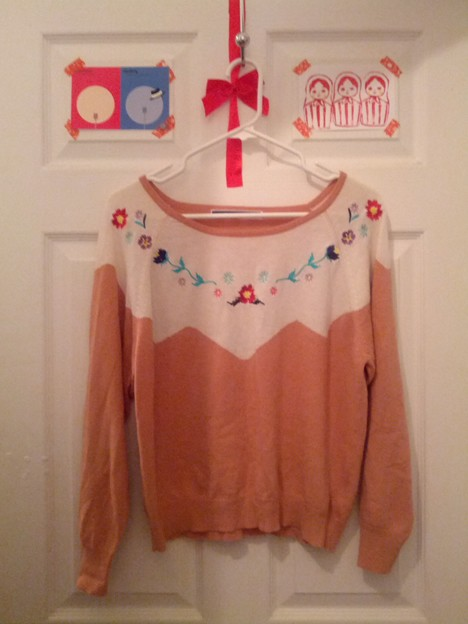 A#2-knit sweater with emvroidedries from THE EMPORIUM.($19-)
