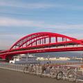 赤い橋の風景