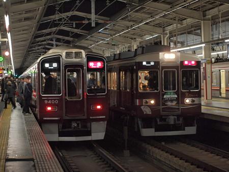 阪急9300系と6300系の並び 阪急京都線茨木市駅