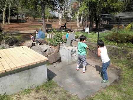 蘆花公園-08ポンプで遊ぶ子供たち