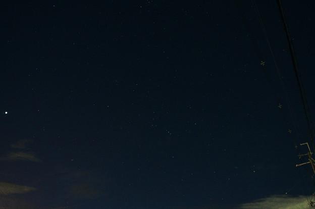 オリオン座と明けの明星