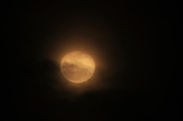 雲越しの赤い朧月 2