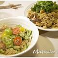 写真: パスタとサラダ