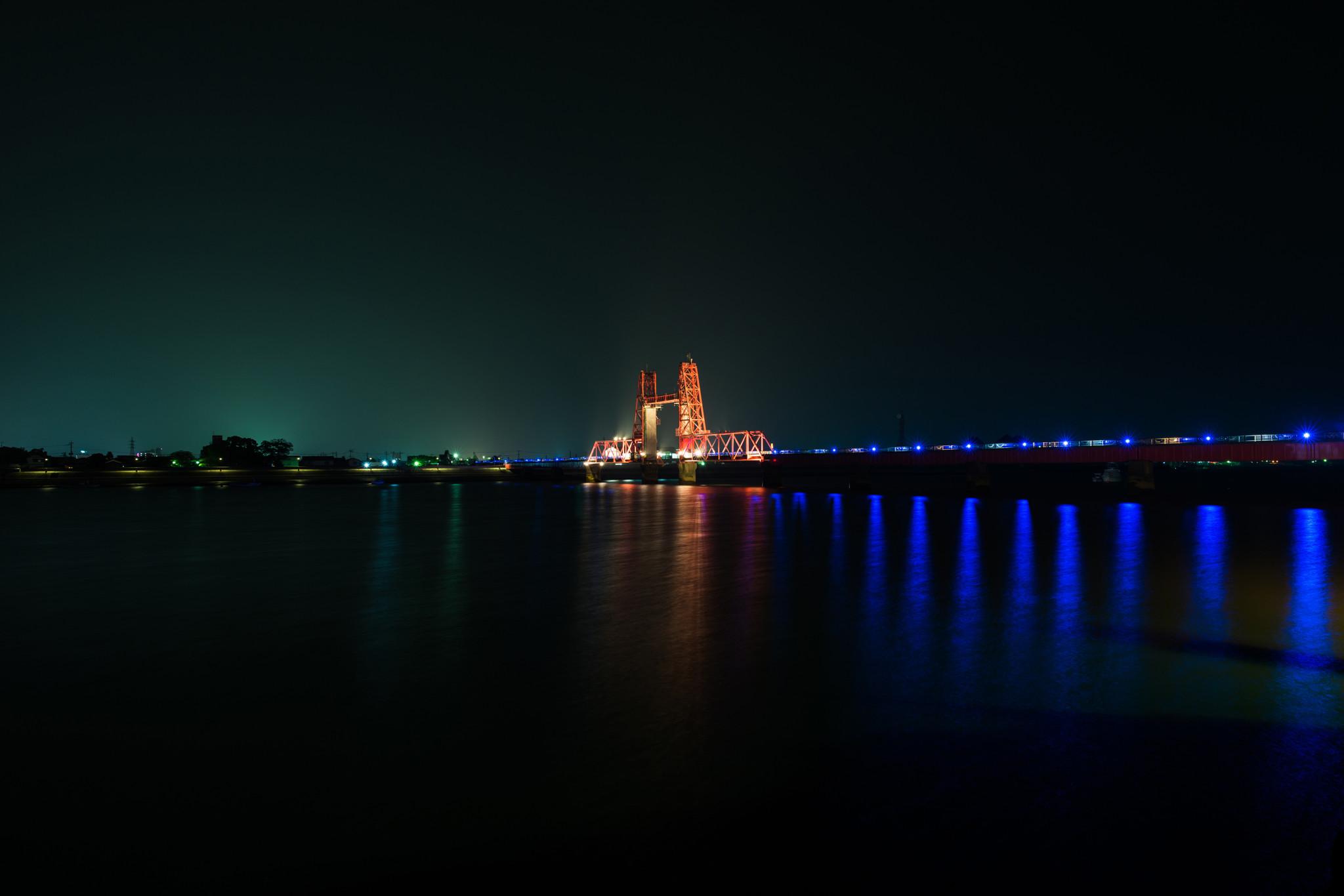 夜の昇開橋-4