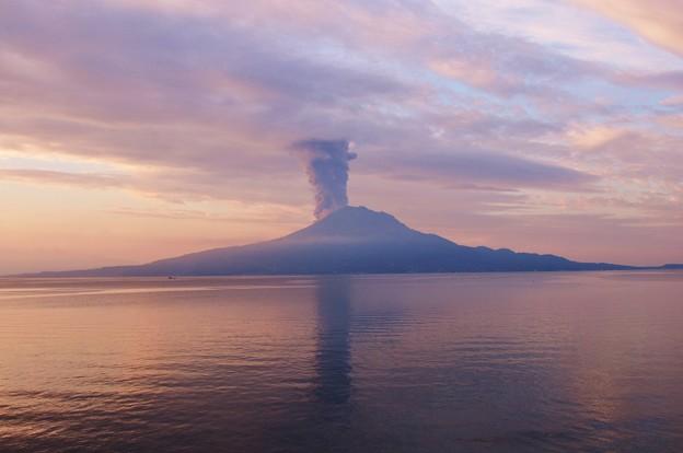 朝焼けの桜島爆発