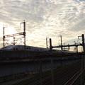 早朝の跨線橋から?