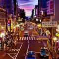 東京の新大久保駅から見た黄昏の空HDR