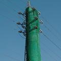 写真: 洋服を着た高圧鉄塔