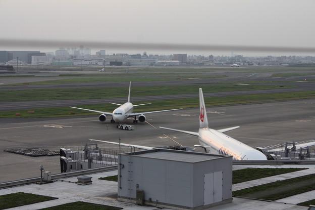 夕陽を浴びる旅客機