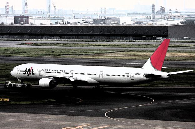 JAL ボーイング777-346 JA751J 水彩画
