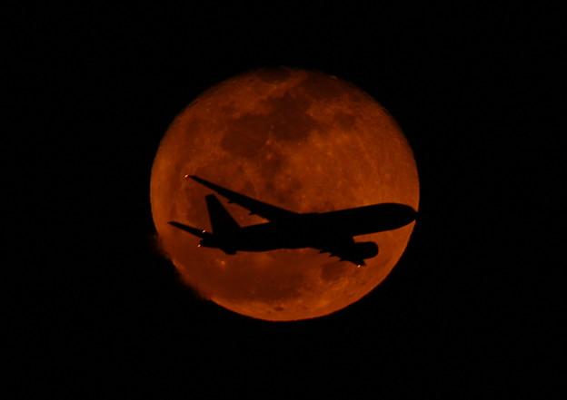 十六夜の月と飛行機 2013-02-27 (1)