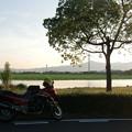 琵琶湖畔にて