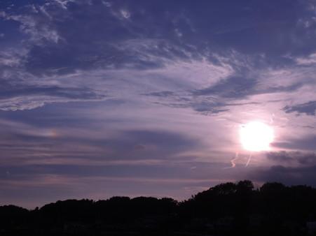 夕陽と幻日