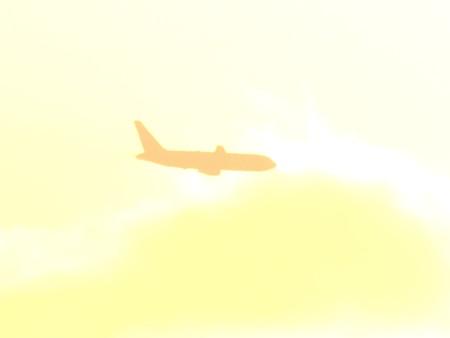 夕陽の中の飛行機