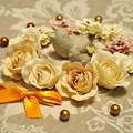 写真: 小鳥とお花..★.:*