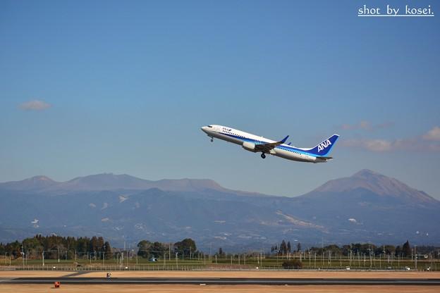 霧島連山と茶畑と飛行機♪