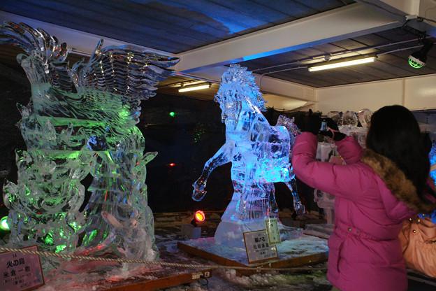 氷の彫刻を見る人たち_02