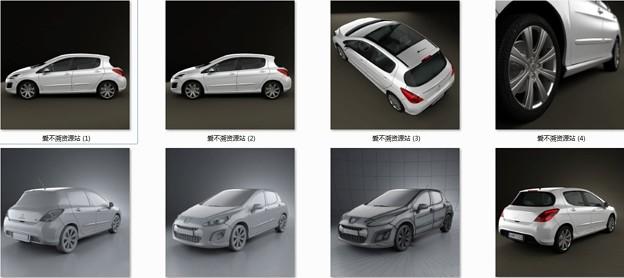 标志308汽车3D模型