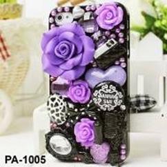 phone5 デコ カバー かわいい花(バラ/薔薇)をあしらった 3Dケース(ブラック)