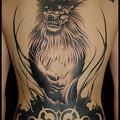 タトゥー 大阪 刺青/ブラック&グレー/文字タトゥー/ライオン/トライバルタトゥー