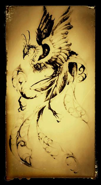 タトゥー 大阪 刺青デザイン 鳳凰 水墨画 タトゥースタジオ