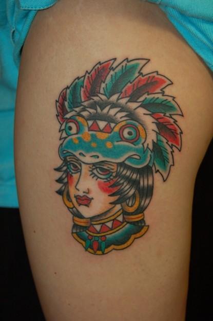 インディアン・トラッドガールのタトゥー indian trad girl tattoo