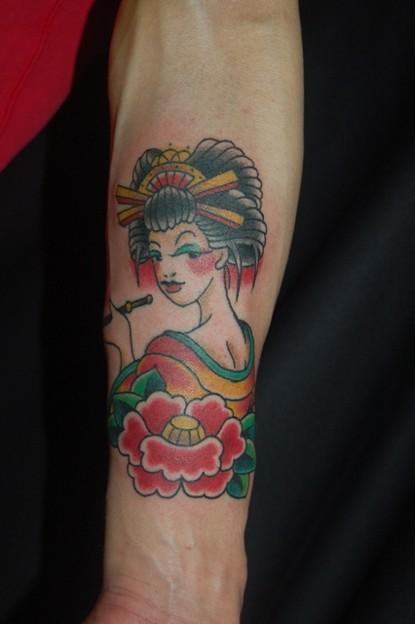 花魁のタトゥー oiran tattoo(japanese traditional girl tattoo)