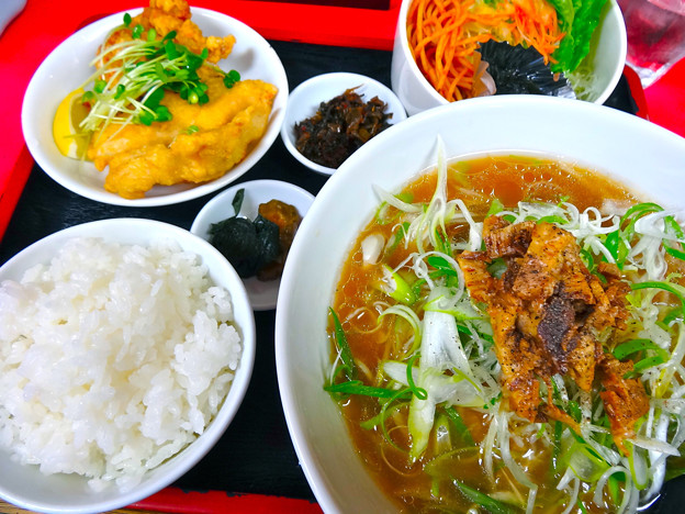 てんしん中華店 ランチ ネギラーメン定食 広島市南区的場町 Tianjin