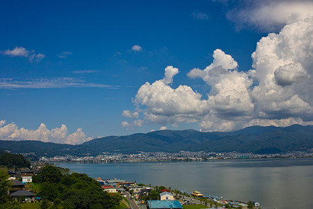 諏訪湖と雲