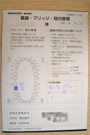 銀歯の説明書 (2年間保管)