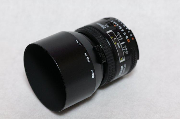 Nikon Ai AF Nikkor 35mm f/2 に Nikon HS-14 を装着