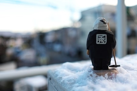 2014.02.05 ベランダ 雪の残る朝