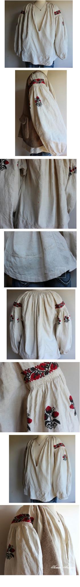 苺手刺繍ウクライナリネンブラウス